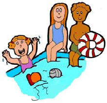 the pool area has been enlarged with the addition of a wading pool    Kids Pool Clip Art